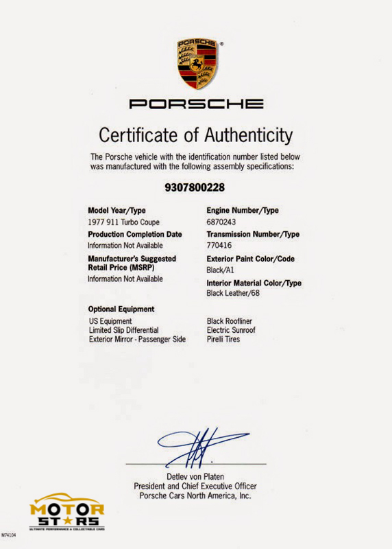 Magnus Walker Porsche 911 930 Certificate Of Authenticity